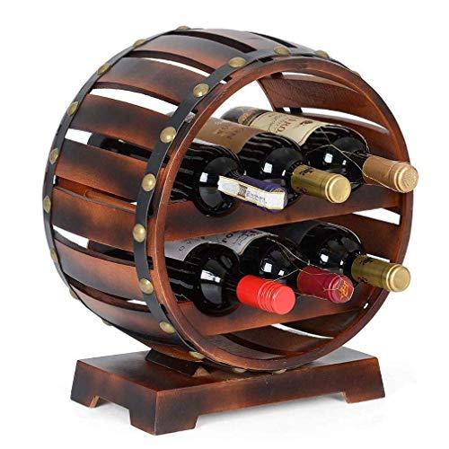 QAQA Holzfass Weinregal, Tisch Küche Top-Flaschenhalter, Eiche Effect Stand, Platz for 6 Flaschen, großes Geschenk for Weinkenner