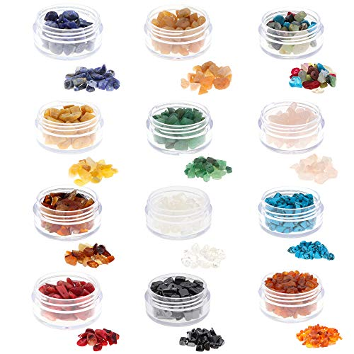 Fun-Weevz 180-240 PCS Natural Gemstone Beads for Jewelry Making Adults, Semiprecious Stone Chips for Bracelets and Necklaces, Chakra Stones for Healing Jewelry