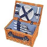matches21 - Cesta de picnic para 2 personas (mimbre, 12 piezas, incluye vajillas), color marrón y azul