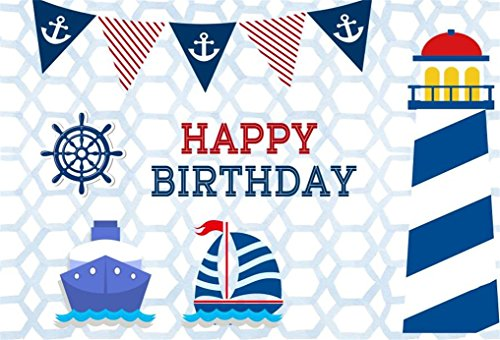 AOFOTO 8x6ft Happy Birthday Nautical Theme Party Decoration Background Rudder Cartoon Lighthouse Photography Backdrop Marine Ship Seafaring Voyage Boat Navigation Anchor Banner Photo Studio Props