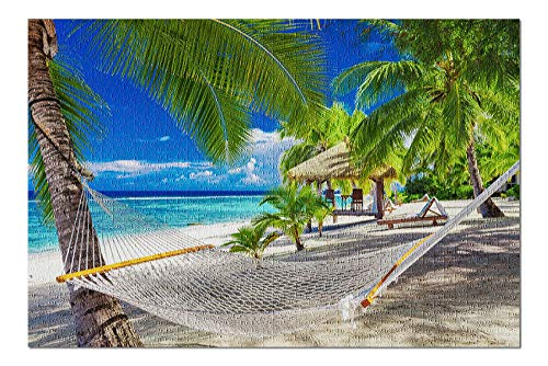Hammock Tropical Beach of Rarotonga Cook Islands, South Pacific Photography - 300 Piece Jigsaw Puzzles for Adults Kids, Puzzles for Toddler Children Boys and Girls 10' x 15'