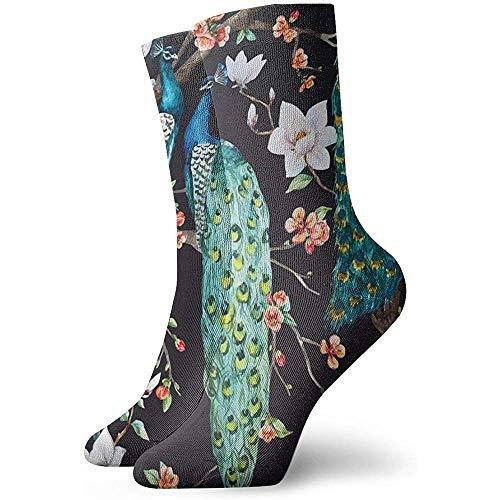Be-ryl Calcetines Unisex Calcetines Deportivos Pavo Real Calzado Trekking 30cm
