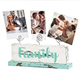 J JACKCUBDE DESIGN Multi-Photo, Memos, Cards Gallery Display, Double Side Wood Block Family and Forever Letters for Kitchen, Bedroom, Office, Picture Frame Collage Decoration With 3 Wire Clips -MK678A
