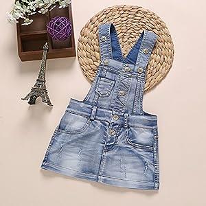 Baby & Little Girls Cotton Denim Adjustable Overalls Dress