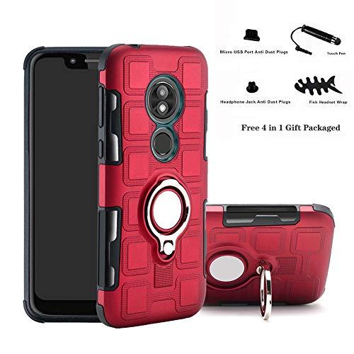 Labanema Moto G7 Power Funda, 360 Rotating Ring Grip Stand Holder Capa TPU + PC Shockproof Anti-rasguños teléfono Caso protección Cáscara Cover para Motorola Moto G7 Power - Rojo