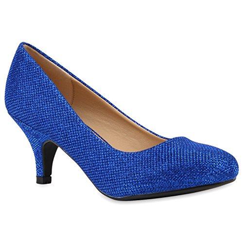 Klassische Damen Pumps Strass Glitzer Party Metallic Stilettos Absatz Abend Lack Schuhe 113905 Blau 38 Flandell