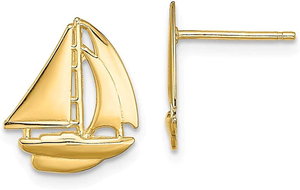 14k Yellow Gold Sailboat Post Stud Earrings Outdoor Nature Travel Fine Jewelry For Women Gifts For Her