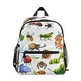 Mochila pequeña para escuela, insectos, gusanos de seda, mariquita, abeja Mantis, para niña, niño, niña, niña, niño, mochila de viaje para estudiantes, primaria