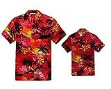 Juego Hawaiano Traje de Luau Camisa de Hombre Camisa de niño en Puesta de Sol Rojo Hombre 3XL...