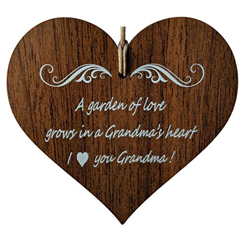 Wooden & Antique - A Garden of Love Grows in a Grandma's Heart. I Love You Grandmother Quotes. - Wooden Hanging Heart Plaque-Sign Gift