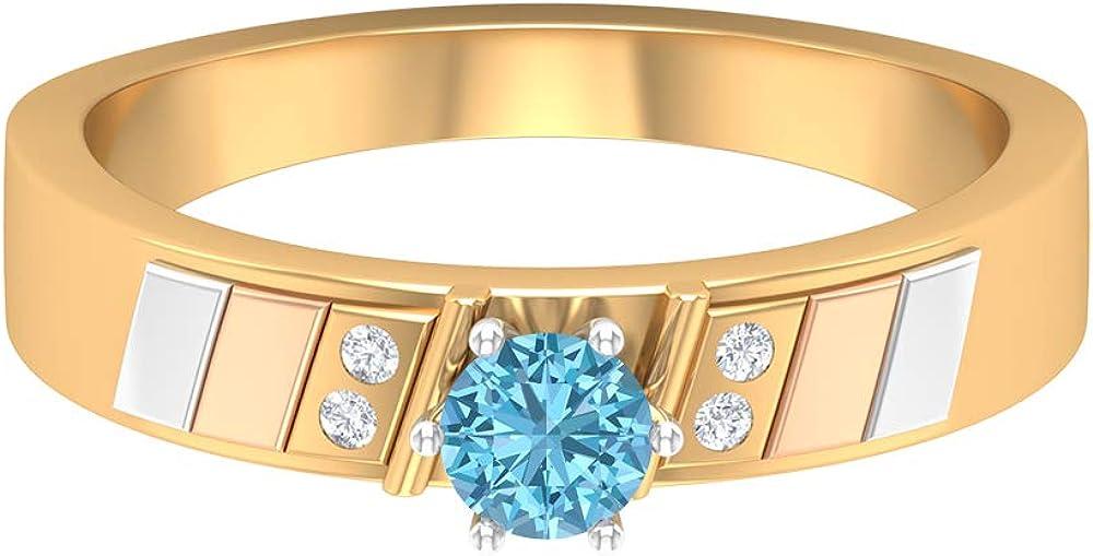 1/2 CT Aquamarine Solitaire Ring, 1.2 MM HI-SI Diamond Band Ring, Gold Three Tone Wedding Band (4 MM Round Shaped Aquamarine), 14K Gold