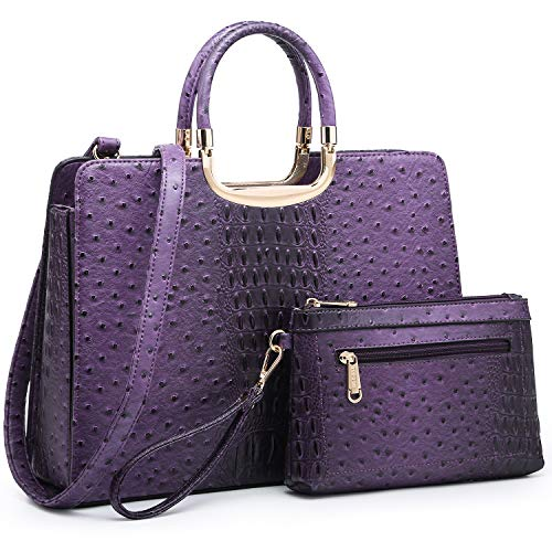 Women's Fashion Handbag Shoulder Bag Hinged Top Handle Tote Satchel Purse Work Bag with Matching Wallet (6-ostrich Purple Cosmetic Bag Set)