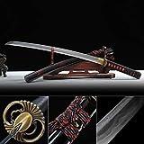 TRUEKATANA Handmade Damascus Folded Steel Real Copper Tsuba Real Hamon Japanese Wakizashi Samurai Swords