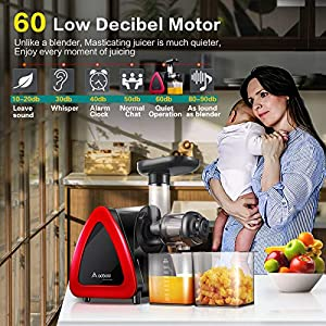 Aobosi Slow Masticating Juicer Machine, Cold Press juicer Extractor, Quiet Motor, Reverse Function, High Nutrient Fruit…  