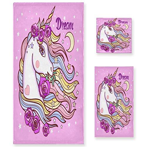 Naanle Dream Unicorn - Juego de 3 toallas de baño de unicornio para baño de algodón altamente absorbente, toalla de baño grande+toalla de mano+toalla, paquete de 3 toallas de suavidad para decoración