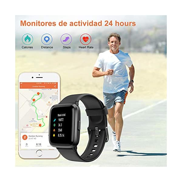YAMAY Smartwatch con Oxímetro de Pulso Esfigmomanómetro y Pulsómetro Reloj Inteligente Impermeable para Hombre Mujer… 2