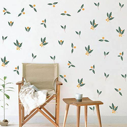 TOARTi Nordic Tangerines Green Leaves Wall Decal Fruit Plant Fresh Leaves Sticker for Bedroom Office Decoration 32pcs Tangerines Leaf