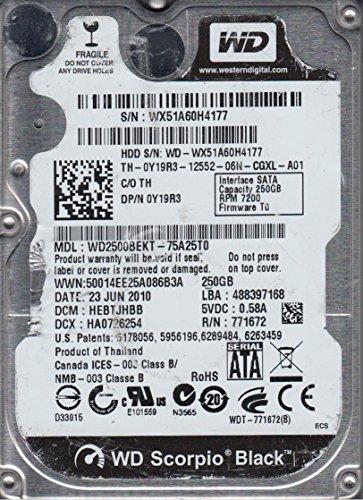 WD2500BEKT-75A25T0, DCM HEBTJHBB, Western Digital 250GB SATA 2.5 Hard Drive