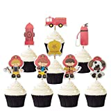 48PCS Firefighter Cupcake Topper for Kids Birthday Party Cake Decoration