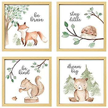 ArtbyHannah 12x12 Inch Picture Frames Framed Woodland Nursery Wall Decor 4 Pcs Photo Frames with Cute Watercolor Squirrel Forest Animals Nursery Wall Art Prints Gallery Kit Wall Art Decor for Kids Room Girls Boys playroom Nursery Room Or Home Wall Hanging Decoration