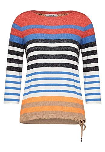 Cecil Damen Shirt mit Streifen Muster Papaya orange L 3/4 Oberteil, T-Shirt, ovaler Ausschnitt, Tunnelzugband, Stripes
