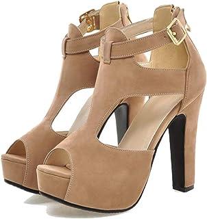 c8dc37acb25a Women s Girls  Ankle Strap Peep-Toe Platform Chunky Block High Heel Dress  Sandals