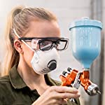 NoCry Over-Glasses Safety Glasses - with Clear Anti-Scratch Wraparound Lenses, Adjustable Arms, Side Shields, UV400 Protection, ANSI Z87 & OSHA Certified (Black & Red) Automotive Spray Paint Gun