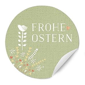 24 Ostersticker – Frohe Ostern im Bauernstil, Vintage, Lindgrün mit farbigen Blumen, matt, zum Verzieren von Ostergeschenken