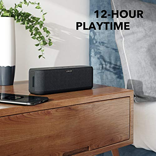 Upgraded, Anker Soundcore Boost Bluetooth Speaker with Well-Balanced Sound, BassUp, 12H Playtime, USB-C, IPX7 Waterproof, Wireless Speaker with Customizable EQ via App, Wireless Stereo Pairing