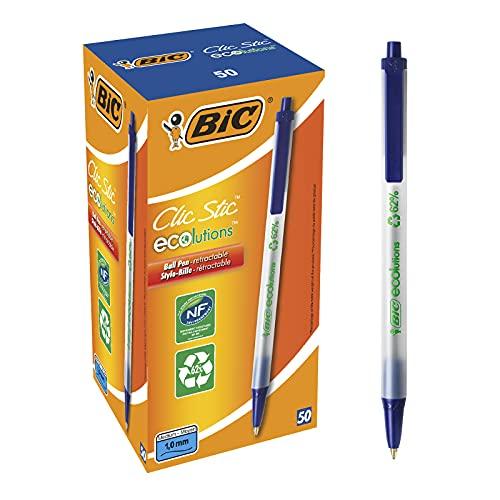 BIC 8806891 ECOlutions Clic Stic - Bolígrafo de botón (62% de material reciclado, trazo de 0,4 mm, 50 unidades), color azul