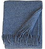 Plaids & Co Silkeborg - Manta (100% lana virgen de Nueva Zelanda, con flecos, 140 x 200 cm), color azul vaquero