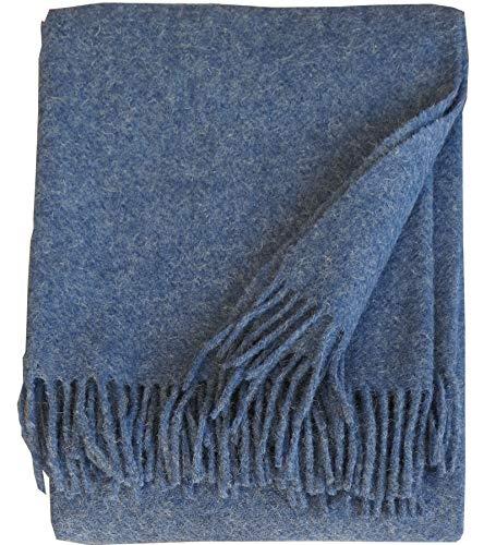 Plaids & Co Wolldecke 100% Schurwolle aus Neuseeland, Schurwollplaid mit Fransen 140x200cm (Jeansblau)