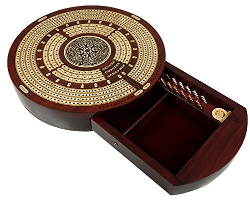 Round 4 Track Continuious Cribbage Board W/ Card Storage Drawer Maple Tracks on Bloodwood - Corners, Skunks & Games Won