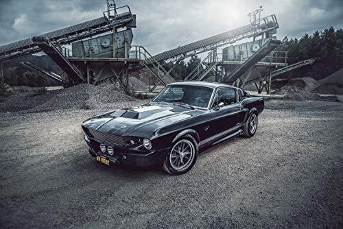 Wandbild 1967 Ford Mustang Eleanor schwarz im Steinbruch (Poster, 120x80 cm)