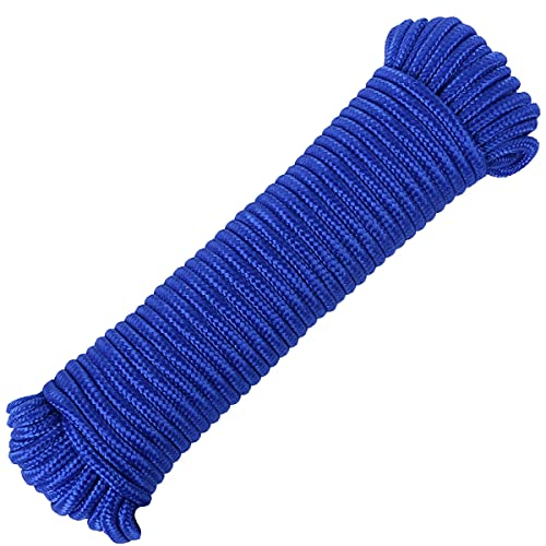 FANGYUAN 90 ft φ 1/4 inch (7mm) Nylon Poly Rope Cord Flag Pole Polypropylene Clothes Line Camping Utility Good for Tie Pull Swing Climb Knot (90ft (27.5M), Blue)