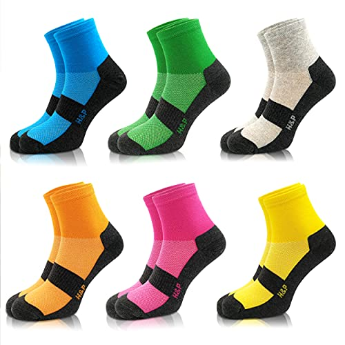 Home & Pets Calcetines de Deporte para hombre y Mujer cortos de colores, sin costuras Algodón 6 Pares (43-46)