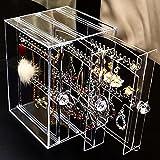 Organizador de joyas a prueba de polvo pendientes titular collar tachuelas exhibición rack caja de almacenamiento tipo A transparente