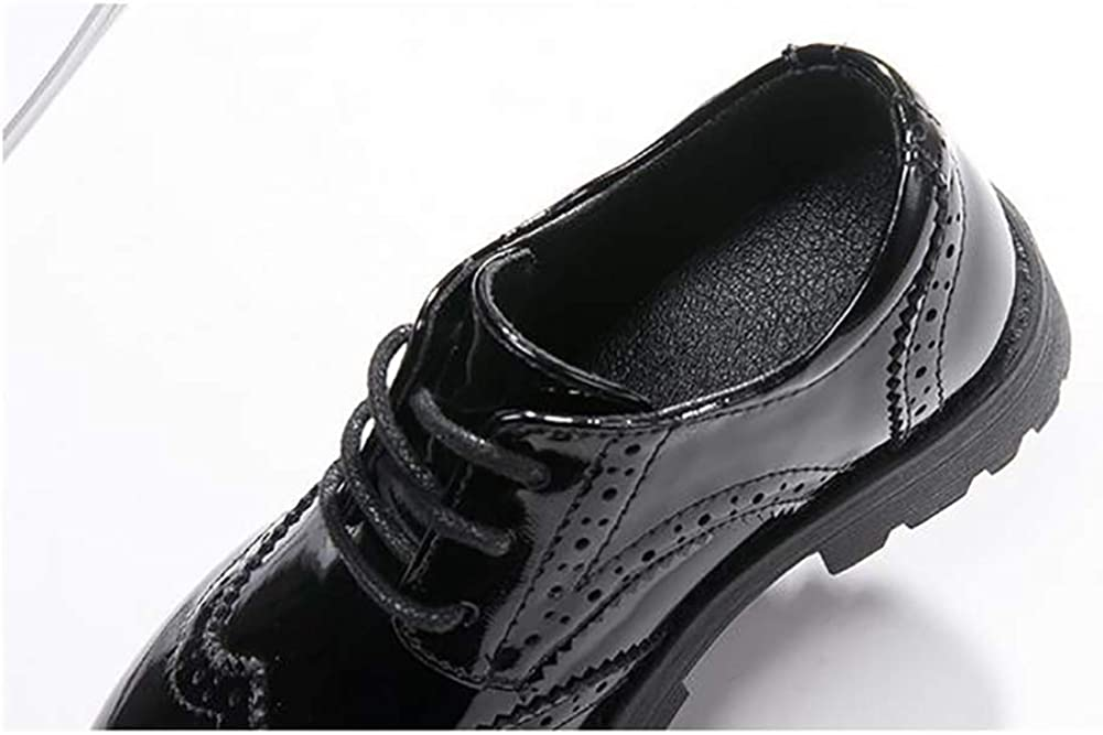 XinYiQu Girls Lace Up Dress Oxford Patent Leather Shoes