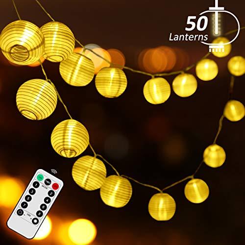 Lampion Lichterkette Draussen Qomolo Wasserdicht 8 Modi Lichterkette Balkon 50er LED Solar Lampions Laterne Aussen Dekoration mit Fernbedienung für Garten Balkon [Energieklasse A++]