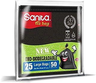 Sanita Tie Bags, 50 Gallons, 25 Bags, Oxo-Biodegradable, Black