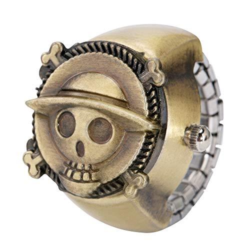Elegante reloj de bronce con anillo para hombres, una pieza con diseño de calavera para mujer, anillo elástico para adolescentes