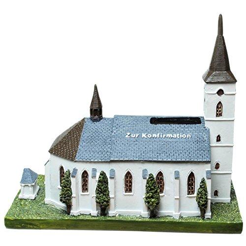 Sparschein, Sparbüchse,Spardose Kirche mit Aufschrift Konfirmation