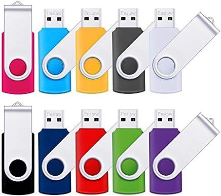 Flash Drive 16GB USB 2.0 10 Pack Swivel blank Memory Stick Pnstaw bulk Thumb Drive Pen Drives Jump Drive for Data Storage, File Sharing(10 Pack,Multi-Color) (16GB)
