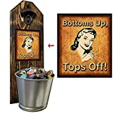 'Tops Off, Bottoms Up!' Vintage Peekaboo Wall Mounted Bottle Opener and Cap Catcher - Made of 100% - 3/4' thick Solid Pine, Rustic Cast Iron Bottle Opener and Galvanized Bucket - Father's Day Gift