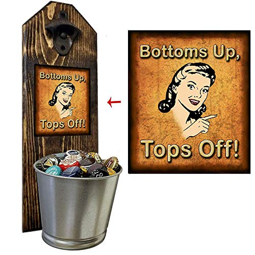 """""""Tops Off, Bottoms Up!"""" Vintage Peekaboo Wall Mounted Bottle Opener and Cap Catcher - Made of 100% - 3/4"""" thick Solid Pine, Rustic Cast Iron Bottle Opener and Galvanized Bucket - Father's Day Gift"""