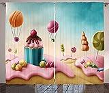 Waple Cortinas opacas ojete para sala de estar Dream Candy Land y Cake Candy Lollipop Food Fairy Postre 280*300cm Cortinas Opacas 3D Cortinas De Salon En Poliéster para Habitacion Dormitorio Cocina De