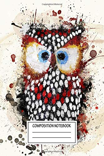 Composition Notebook: Paintings Paint Photo Art Owl Wide Ruled Note Book, Diary, Planner, Journal for Writing