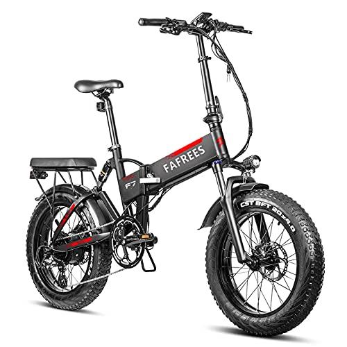 Bici Elettrica Pieghevole da 750 W PANASONIC 48 V 13,6 Ah Batteria Rimovibile Bicicletta Elettrica da Neve da Spiaggia per Adulti, Cambio Shimano a 7 Velocità a Sospensione Completa