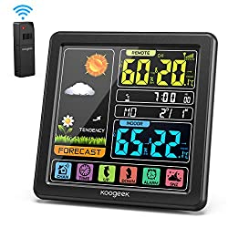 Koogeek Wireless Weather Station, Indoor Outdoor Thermometer Hygrometer with Sensor, Digital Temperature Humidity Monitor, Alarm Clock,Weather Forecast, Time & Date(7 Language), 3 Channels