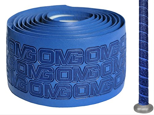 Oh My Grips OMG Premium Cushioned Hand Grip Wrap, Great for All Bats and Racquets; Baseball, Softball, Tennis, Badminton, Cricket, Even Ping-Pong Paddles! (Blue)